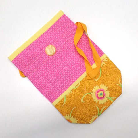 Pink and Orange Project Bag with Pockets