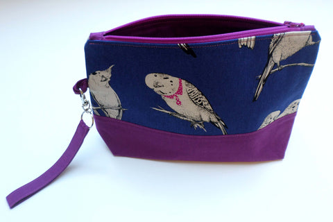 Navy and Magenta Budgies project bag