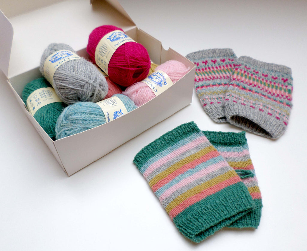 Day Trip Mitts and Vintage Stripes Mitts kit by Skein Queen