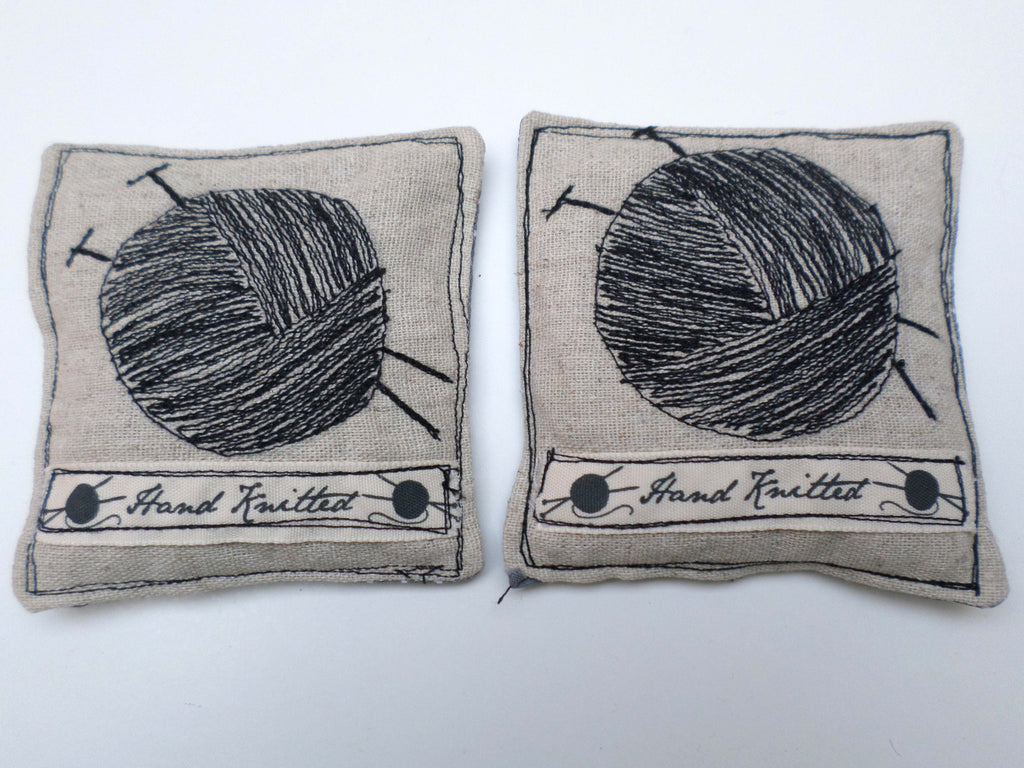 Ball of Yarn with dotty grey on linen lavender sachets