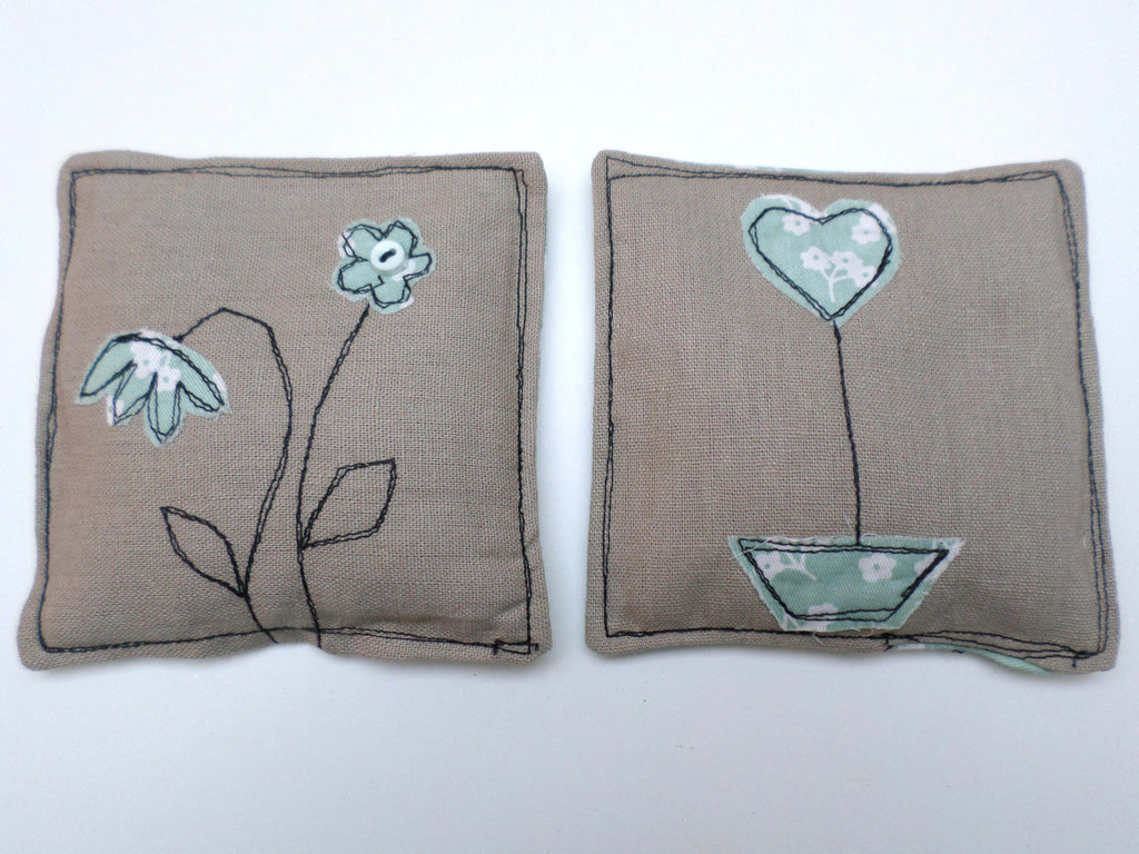 Duck Egg flowers on linen lavender sachets