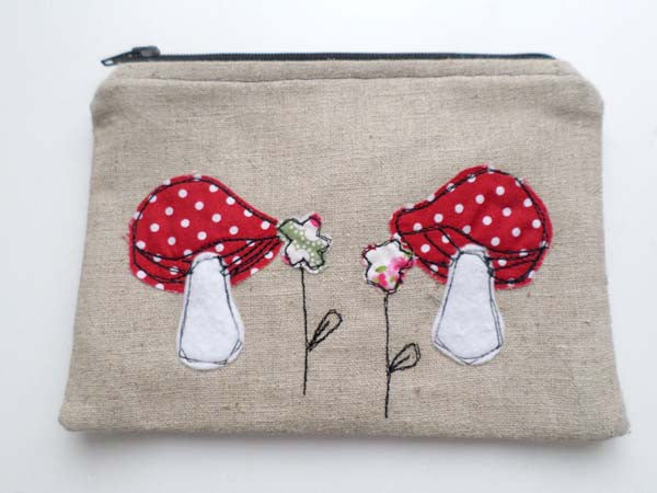 Fairyland Toadstools Linen purse