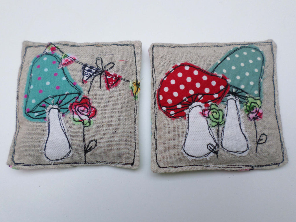 Toadstools on linen lavender sachets