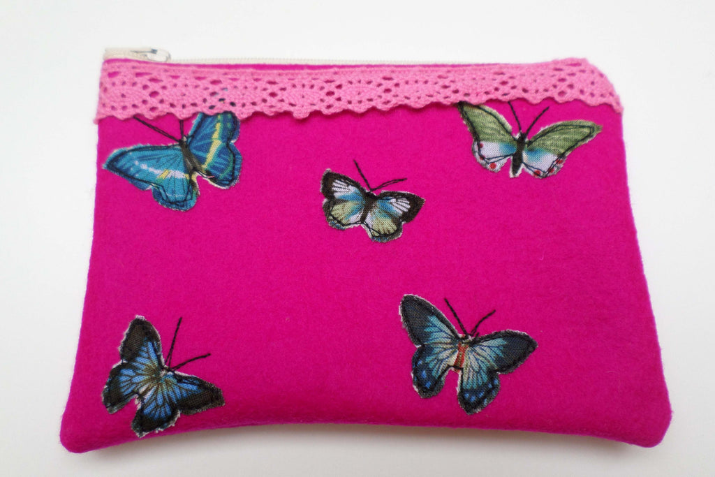Magenta Butterflies Felt purse