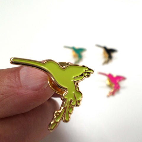 Hummingbird Enamel Pin Badge - lime green