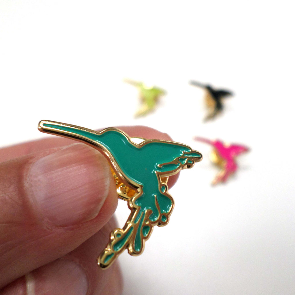 Hummingbird Enamel Pin Badge - turquoise
