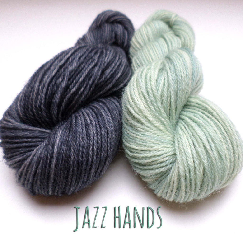 Yarn bundle for Jazz Hands mittens by Kate Davies - Duck Egg and Dark Granite