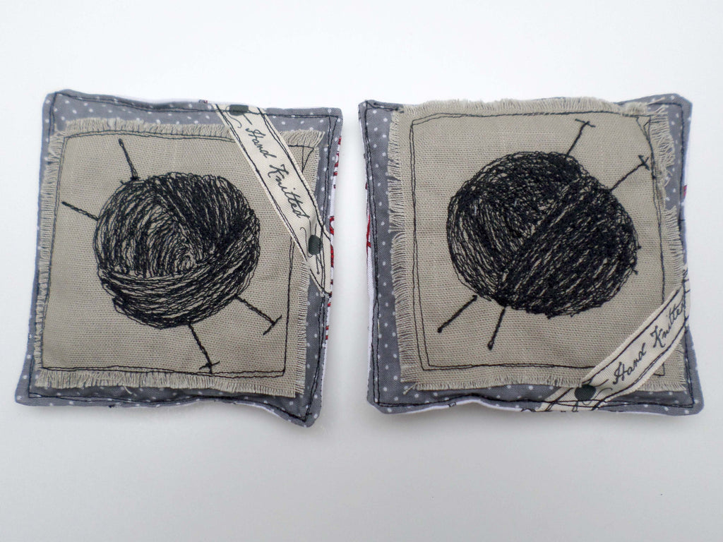 Ball of Yarn with Grey Polkadots on linen lavender sachets