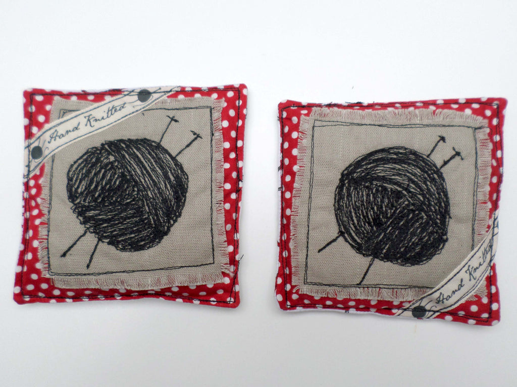 Ball of Yarn with Red Polkadots on linen lavender sachets