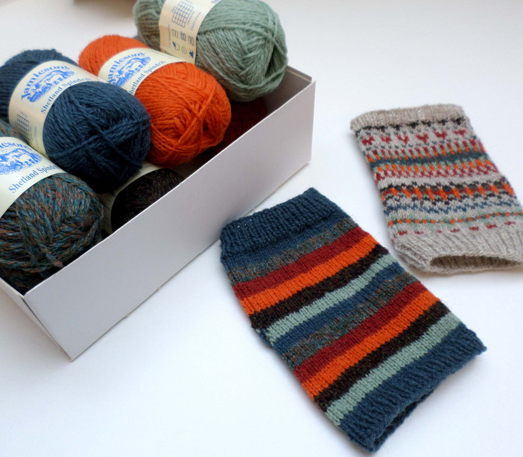 Day Trip Mitts and Winter Stripes Mitts kit by Skein Queen