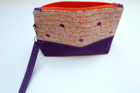 Orange Purple Cats with Yarn project bag