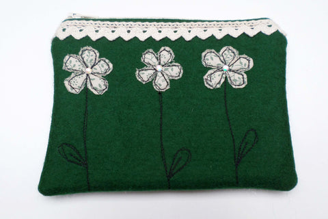 Green Flowers Felt purse