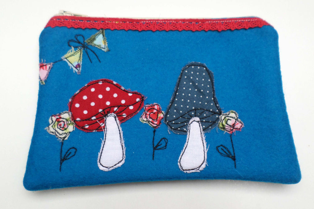 Blue Toadstools Felt purse