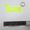 Dachshund needle gauge keyring - Fluoro Yellow