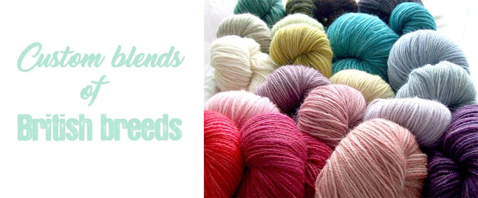 Photo of large skeins of yarn with text custom blends of british breeds