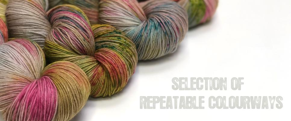 Photos showing skeins of yarn in honeycreeper colourway with text selection of repeatable colourways