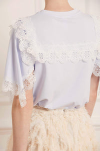Bettina Lace Tee - Blue