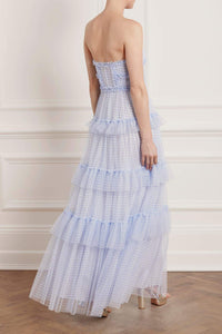 Caroline Gingham Tulle Corset Gown - Blue