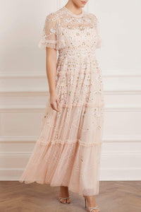 Ditsy Ribbon Gown - Pink