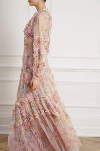 Floral Diamond Ruffle Gown - Pink