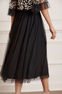 Kisses Tulle Midaxi Skirt - Black