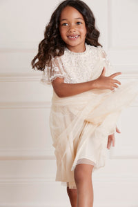 Lilybelle Sequin Kids Dress - Beige