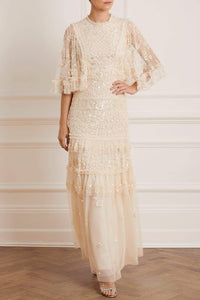 Melody Sequin Gown - Beige