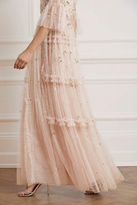 Shimmer Ditsy Long Sleeve Gown - Pink