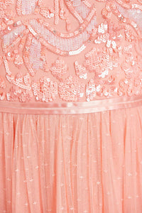 Shirley Ribbon Bodice Ankle Maxi Dress - Pink