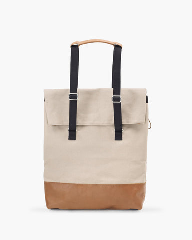 Day Tote Brown Leather Canvas