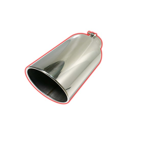 "Flo Pro Rolled Angle Bolt On - Stainless Steel Exhaust Tip - 4"" x 7"" x 18"" 407018RACB"