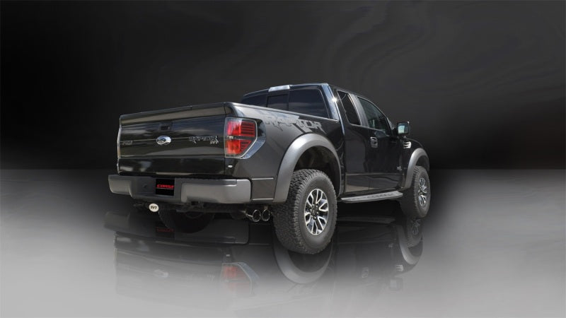 Corsa 11-14 Ford F-150 Raptor 6.2L V8 133in Wheelbase Black Xtreme Cat-Back Exhaust