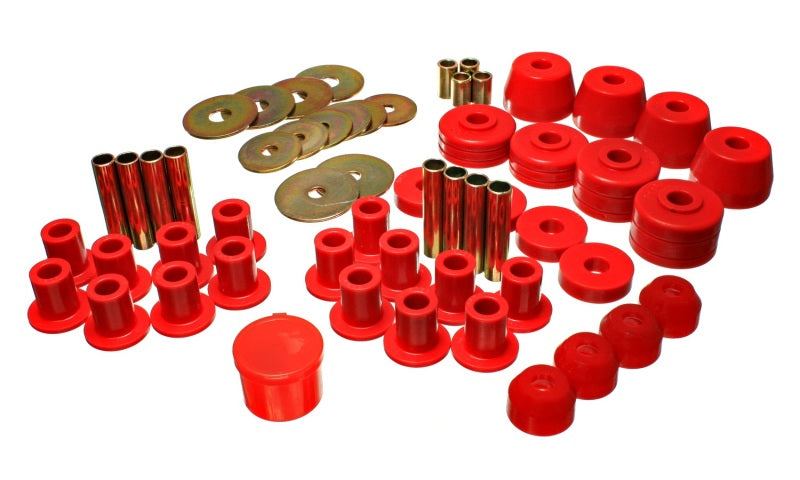 Energy Suspension 72-85 Dodge/Plymouth 1/2 & 3/4 Ton S/C Pickup Red Hyper-Flex Master Bushing Set