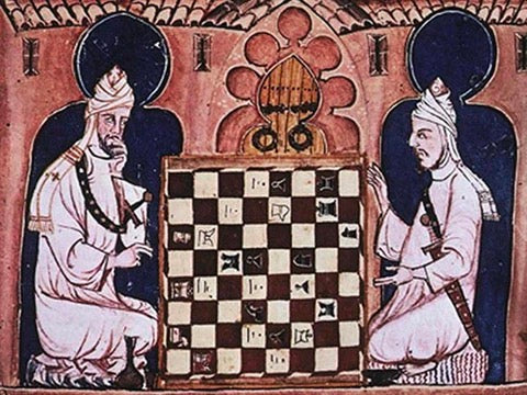 Drawing of ancient Persians playing Chess