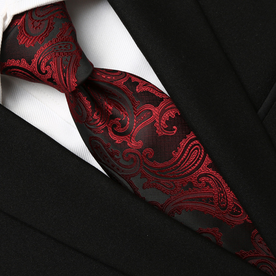 Elegant burgundy on black Paisley tie