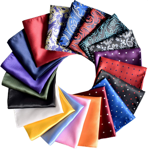 pocket squares in different patterns and designs