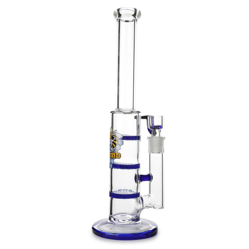 Bong en Verre Triple Disque Perco Honeycomb Bleu France
