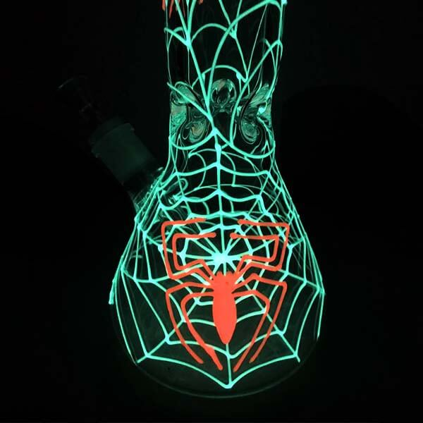 Atomic 30cm Glow in the Dark Spider Web Water Pipe (DL2)
