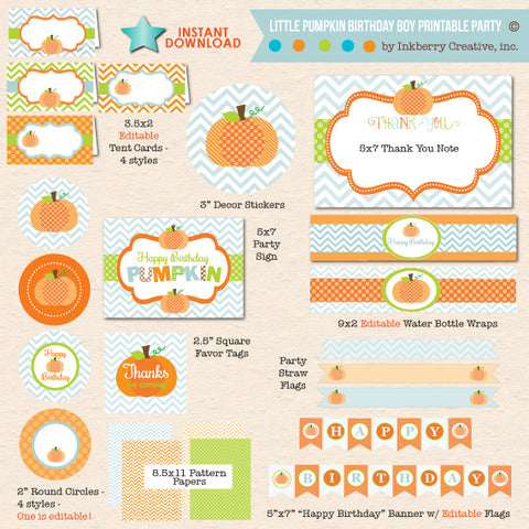 boys pumpkin first birthday printable party