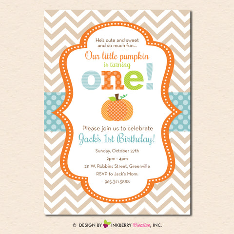boys pumpkin first birthday invitation