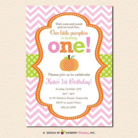 pumpkin girl first birthday invitation