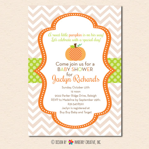 little pumpkin baby shower invitation chevron