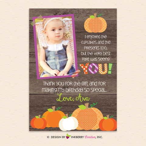 kids pumpkin birthday party photo thank you