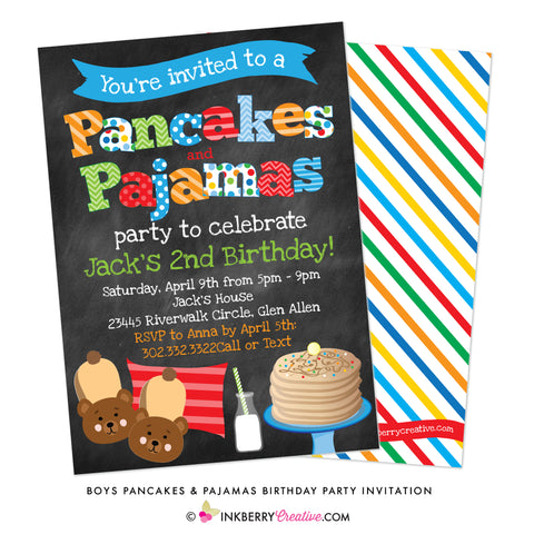 boys pancakes and pajamas party invitation
