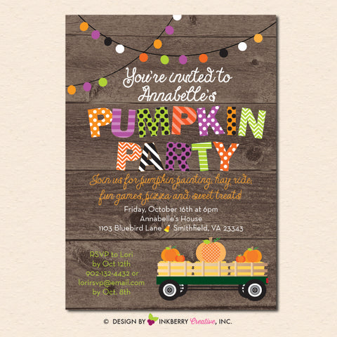 pumpkin theme party invitation printable