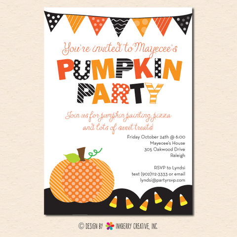 pumpkin party banner candy corn invitation