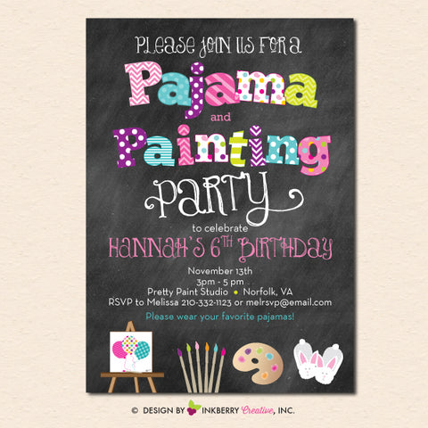 pajama and painting party invitation chalkboard printable