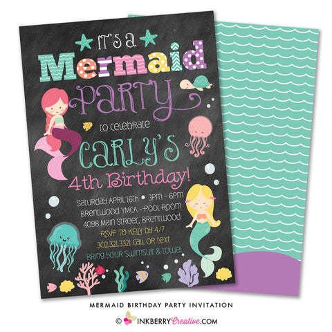 Mermaid birthday party invitation - adorable colorful chalkboard style