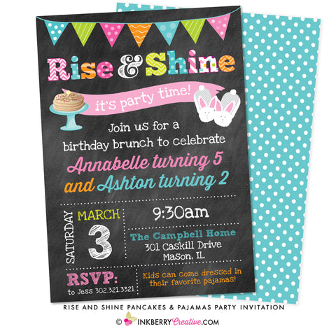 rise and shine breakfast pancakes pajama party invitation