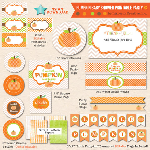 little pumpkin gender neutral baby shower printable party